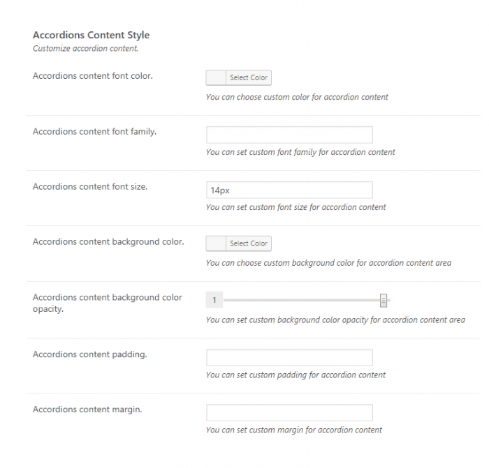 WordPress Accordion plugin