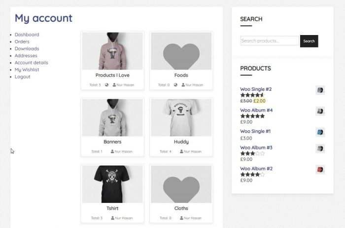 wishlist woocommerce account