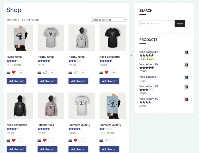 wishlist woocommerce shop